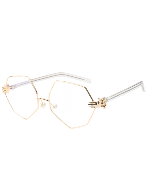fancy Faux Pearl Nose Pad Geometric Sunglasses - WHITE