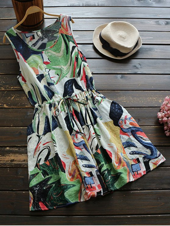 Sleeveless Abstract Print Drawstring Waist Dress - COLORMIX ONE SIZE Mobile