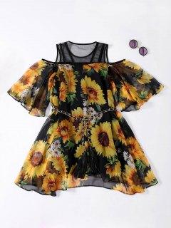 Sunflower Cold Shoulder Flowing Dress - Black Xl