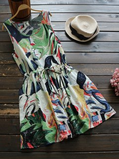 Sleeveless Abstract Print Drawstring Waist Dress