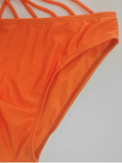 best Solid Color Lace Up One Piece Swimwear - ORANGE S Mobile