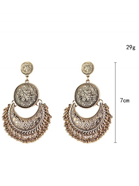 fancy Vintage Engraved Flower Beads Moon Earrings - GOLDEN  Mobile