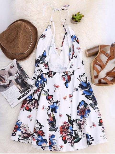 sale Thin Strap Floral Skater Sun Dress - WHITE M Mobile