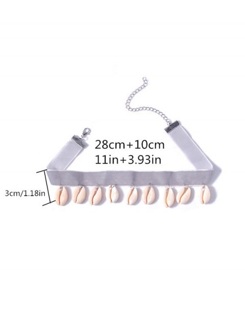 sale Rhinestoned Conch Velvet Choker Necklace Set - SILVER  Mobile