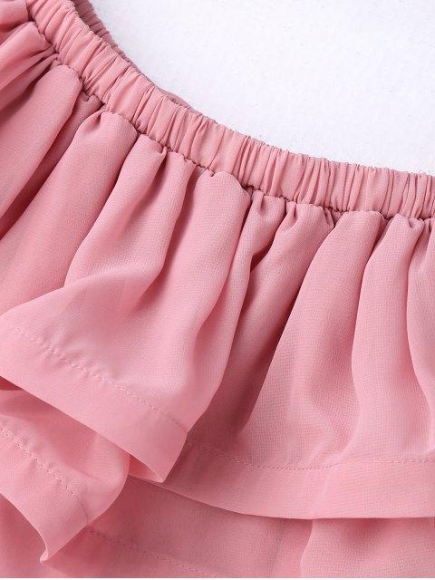 sale Ruffled Off Shoulder Chiffon Dress - PINK S Mobile