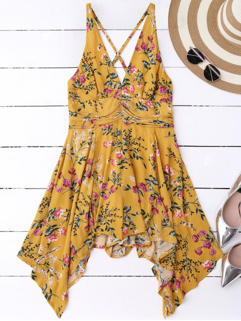 buy Tiny Floral Plunging Neck Romper - YELLOW M Mobile