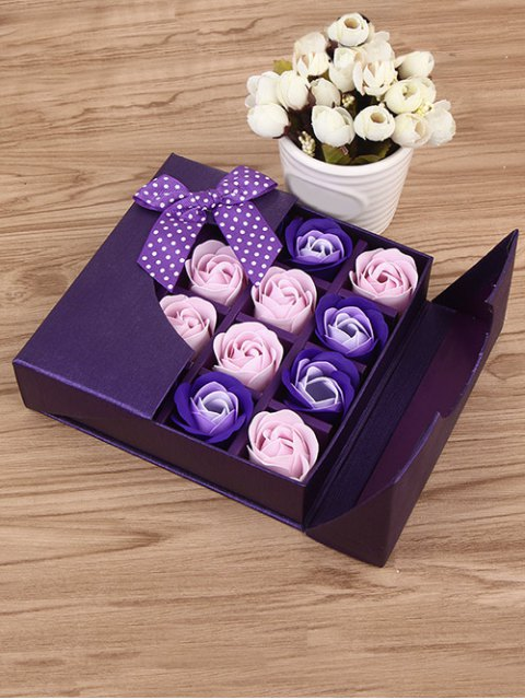 ladies 1 Box 16 Grids Artificial Soap Rose Bowknot Mother's Day Gift - VIOLET  Mobile