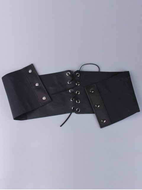 shop Lace Up Button Embroidered High Waist Corset Belt - BLACK  Mobile