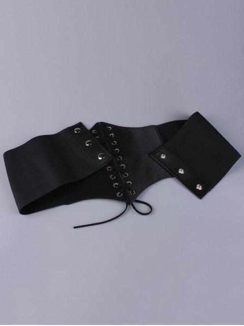 shops Lace Up Floral Embroidered High Waist Corset Belt - BLACK  Mobile