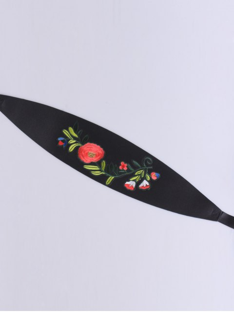 trendy Chinoiserie Flowers Embroidered High Waist Corset Belt - BLACK  Mobile
