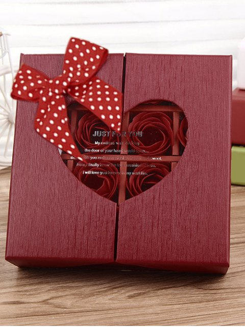 lady 1 Box 16 Grids Artificial Soap Rose Bowknot Mother's Day Gift - BRIGHT RED  Mobile