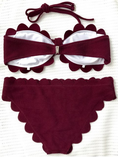 latest Scalloped Bandeau Bathing Suit - BURGUNDY S Mobile
