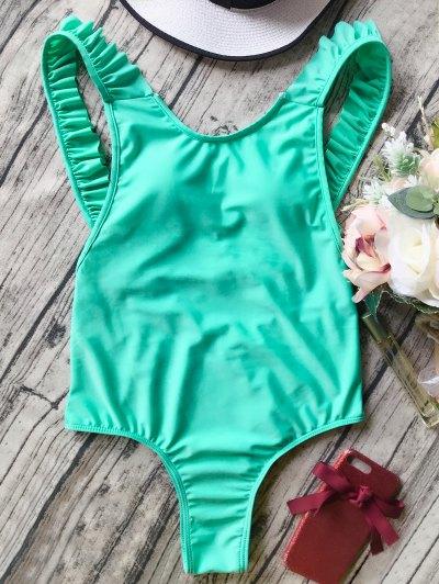 Open Back Ruffle Strap One Piece Swimsuit - Green