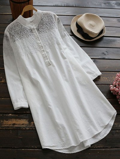 Irregular Lines Embroidered Tunic Top - White