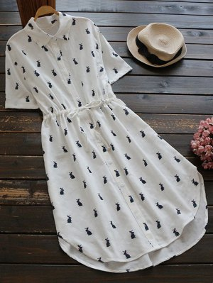 Printed Button Up Drawstring Waist Shirt Dress