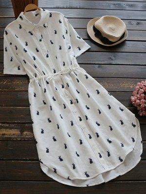 Robe chemise imprimée à boutons à lanières
