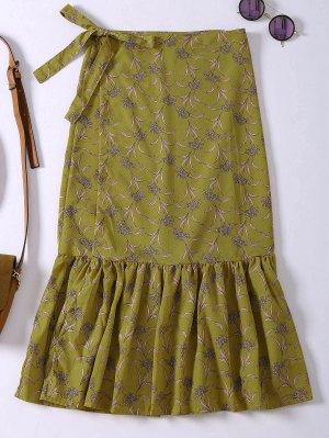 Flower Print Mermaid Wrap Skirt - Yellow