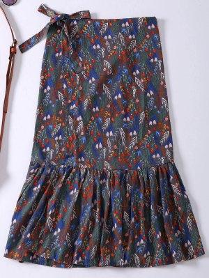 Floral Ruffle Hem Slit Wrap Skirt - Gray