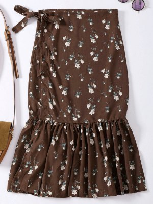 Floral Print Mermaid High Slit Wrap Skirt - Coffee