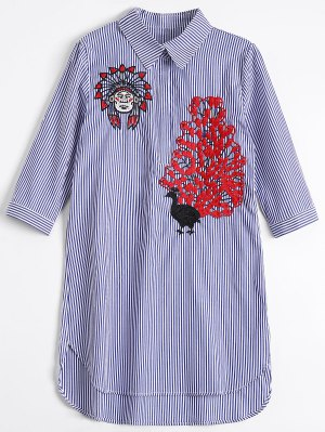 Peacock Embroidered High Low Shirt Dress - Blue Stripe