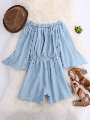Seam Pockets Off The Shoulder Romper - Light Blue