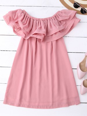 Ruffled Off Shoulder Chiffon Dress - Pink