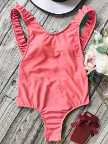 Open Back Ruffle Strap One Piece Swimsuit
