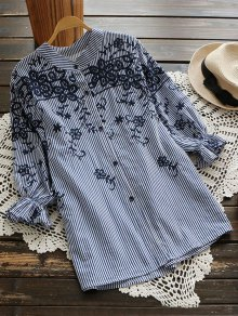 Embroidered Puff Sleeve Striped Shirt - Blue Stripe