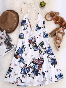 Thin Strap Floral Skater Sun Dress - White M