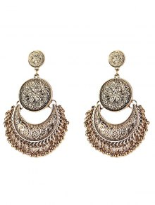 Vintage Engraved Flower Beads Moon Earrings