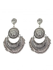 Vintage Engraved Flower Beads Moon Earrings - Silver