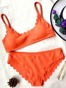 Scalloped Bralette Bikini Set - Orange