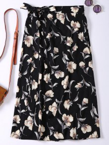 Floral High Slit Wrap Holiday Skirt - Black