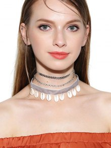 Rhinestoned Conch Velvet Choker Necklace Set