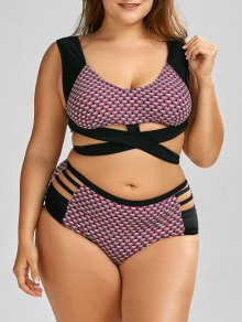 Wrap High Waist Print  Plus Size Cutout Bikini - Black 3xl