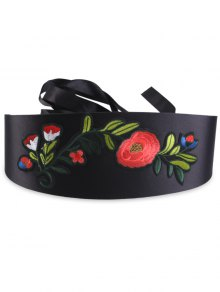 Chinoiserie Flowers Embroidered Wide Band Corset Belt - Black