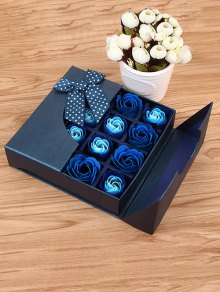 1 Box 16 Grids Artificial Soap Rose Bowknot Mother's Day Gift - Royal