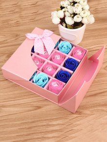 1 Box 16 Grids Artificial Soap Rose Bowknot Mother's Day Gift - Pink