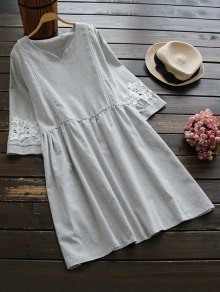Lace Panel Smock Dress With Ladder Detail