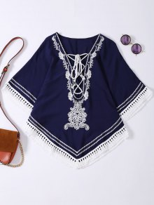 Embroidered Lace Up Batwing Sleeve Top