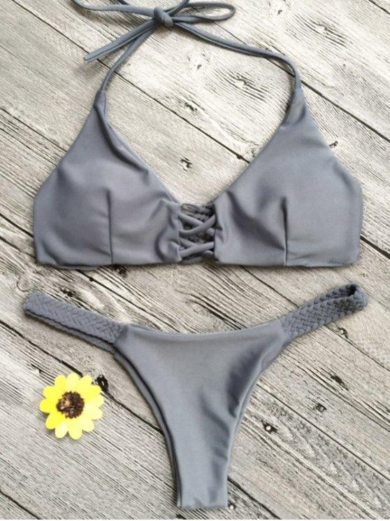 fancy Crisscross Macrame Halter Bikini Set - GRAY S