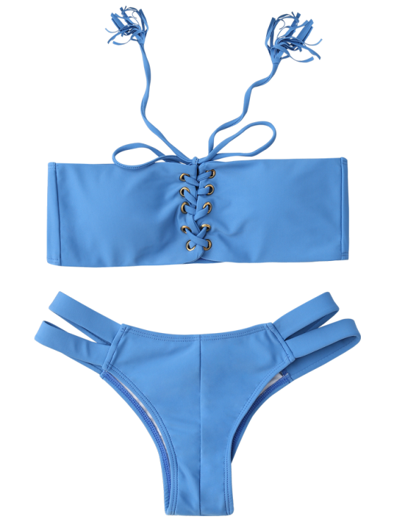 Bandage Lace Up Strapless Bathing Suit - ICE BLUE S Mobile