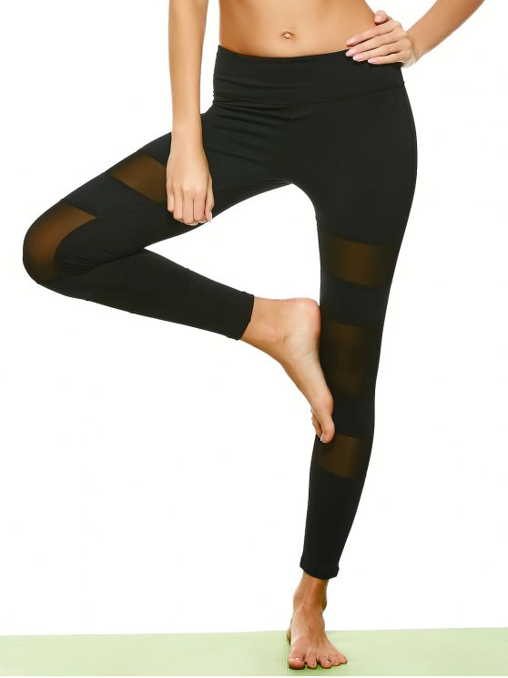 Geometric Mesh Panel Sheer Sports Leggings - BLACK L Mobile