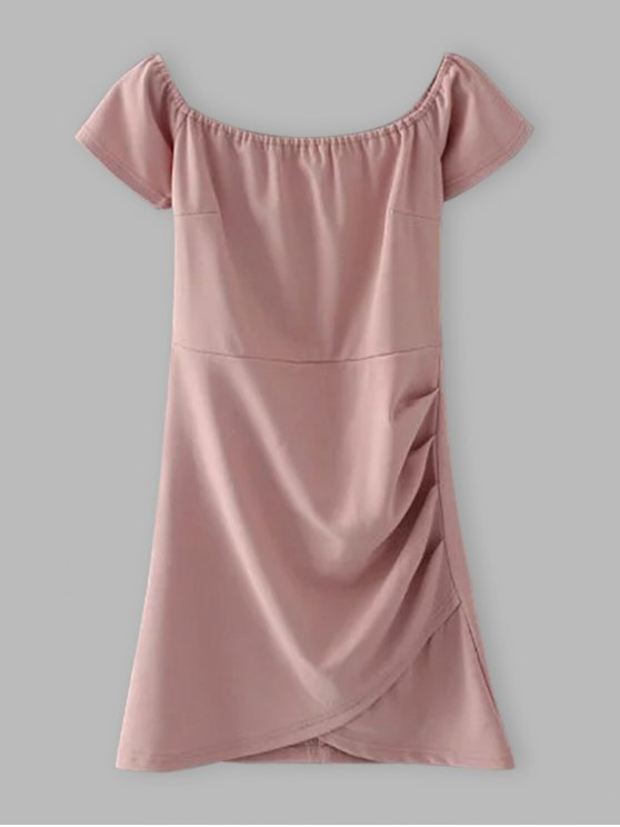 online Off Shoulder Ruched Bodycon Dress - SHALLOW PINK L