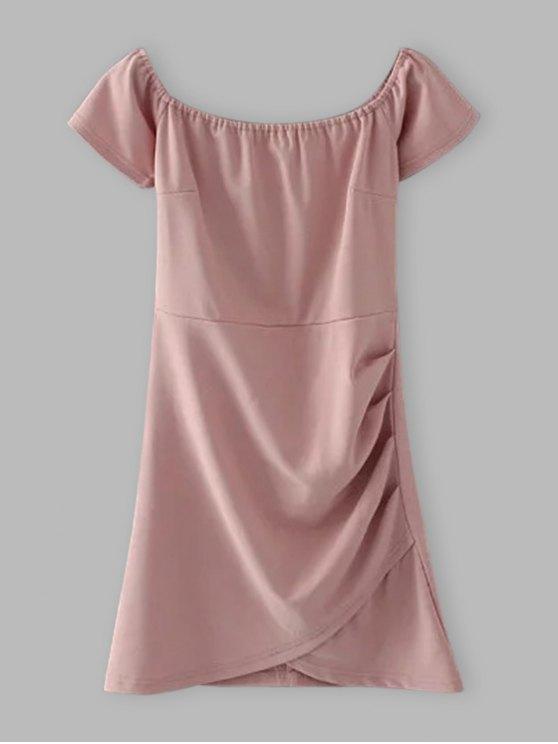 Hombro Vestido ajustado con pliegues - Rosado Claro S