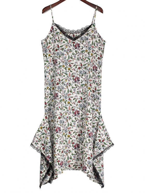 women Slip Floral Asymmetric Lace Trim Dress - WHITE M