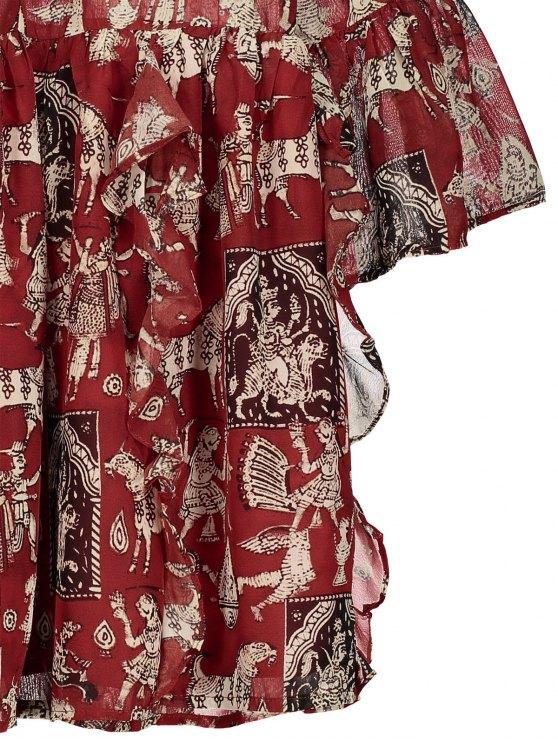 Printed Ruffle Flare Sleeve Chiffon Dress - RED M Mobile