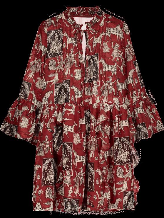 Impreso volante vestido de la gasa de la manga de la llamarada - Rojo M