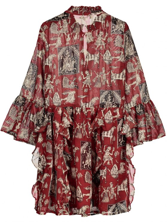 Printed Ruffle Flare Sleeve Chiffon Dress - RED L Mobile