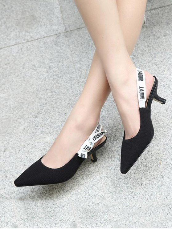 Letter Pattern Slingback Mid Heel Pumps - BLACK 39 Mobile